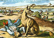 One of numerous differing depictions of the infamous Beast of Gévaudan prepared in France, Germany, or elsewhere in Europe during the 1700s (public domain)