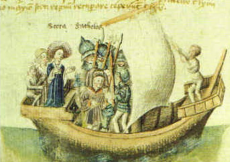A 15th century depiction of Scota's voyage from Egypt. (Wikimedia Commons)