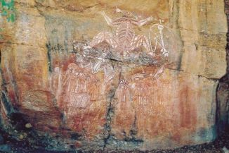 Photo Ancient Aboriginal rock art at Nourlangie in the Kakadu National Park, Northern Territory, some of which dates back 50,000 years, date unknown. (Martin Kwakwa, file photo AAP