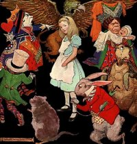 Jessie Willcox Smith's illustration of Alice surrounded by the characters of Wonderland (1923)