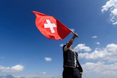 swiss flag waving