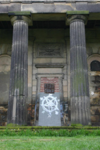 Satanic graffiti on the Nonconformist chapel in the General Cemetery, Sharrow.